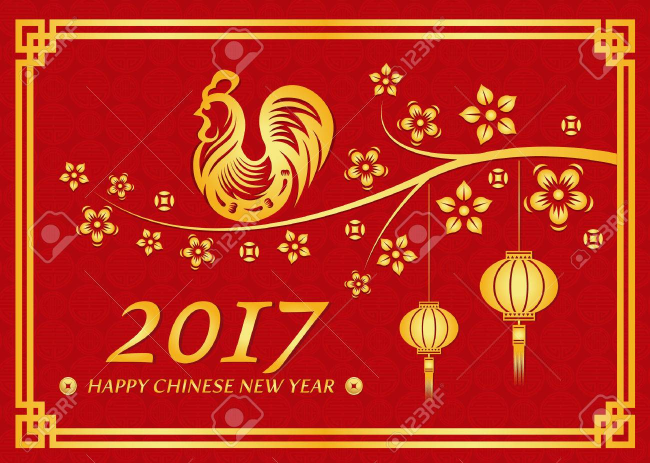 happy chinese new year 2017 card is lanterns and gold chicken on tree flower stock vector