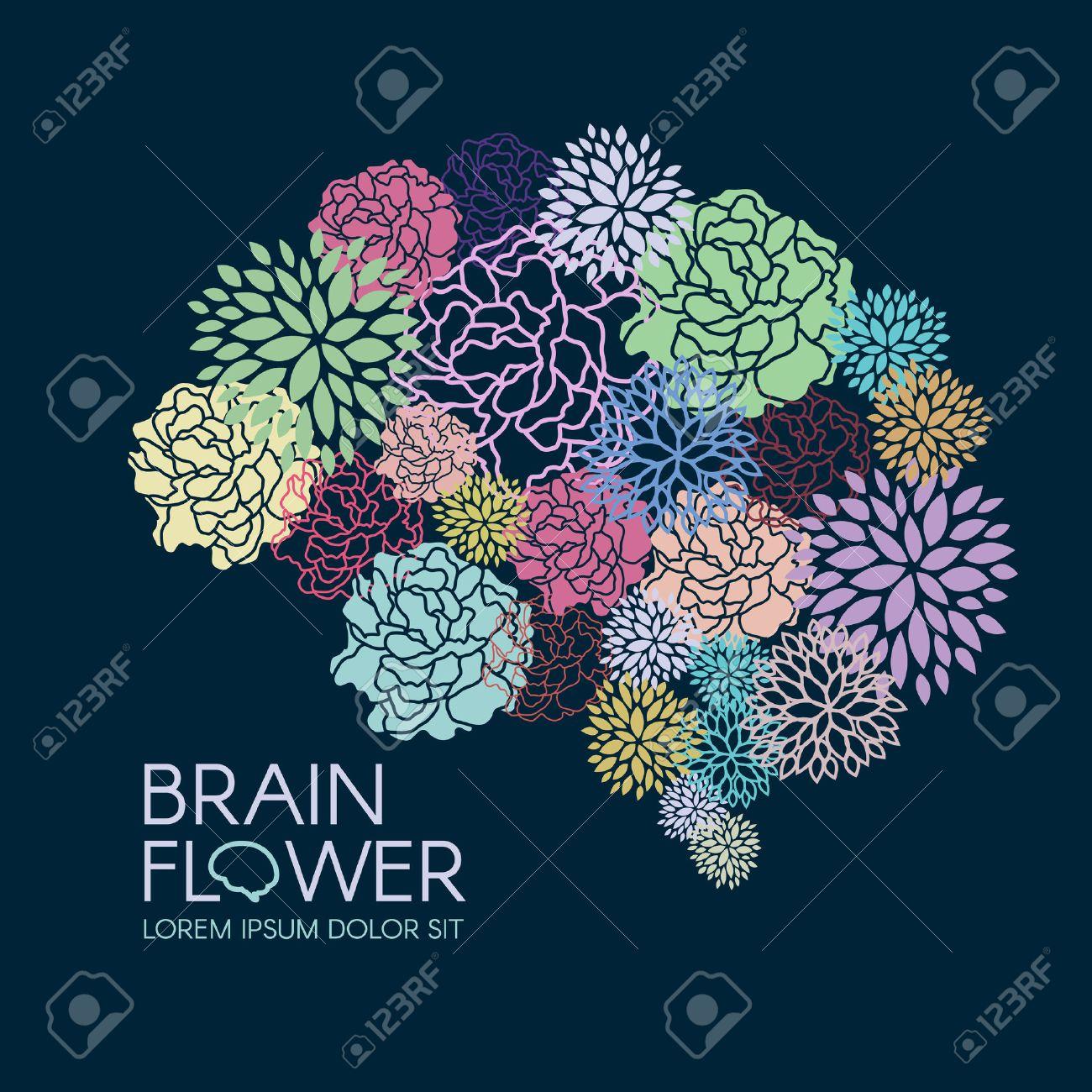 Beautiful Flora Brain flower abstract vector illustration - 52223637