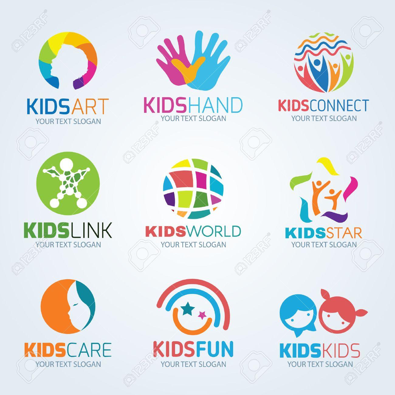 Kids child logo vector set design - 52224006