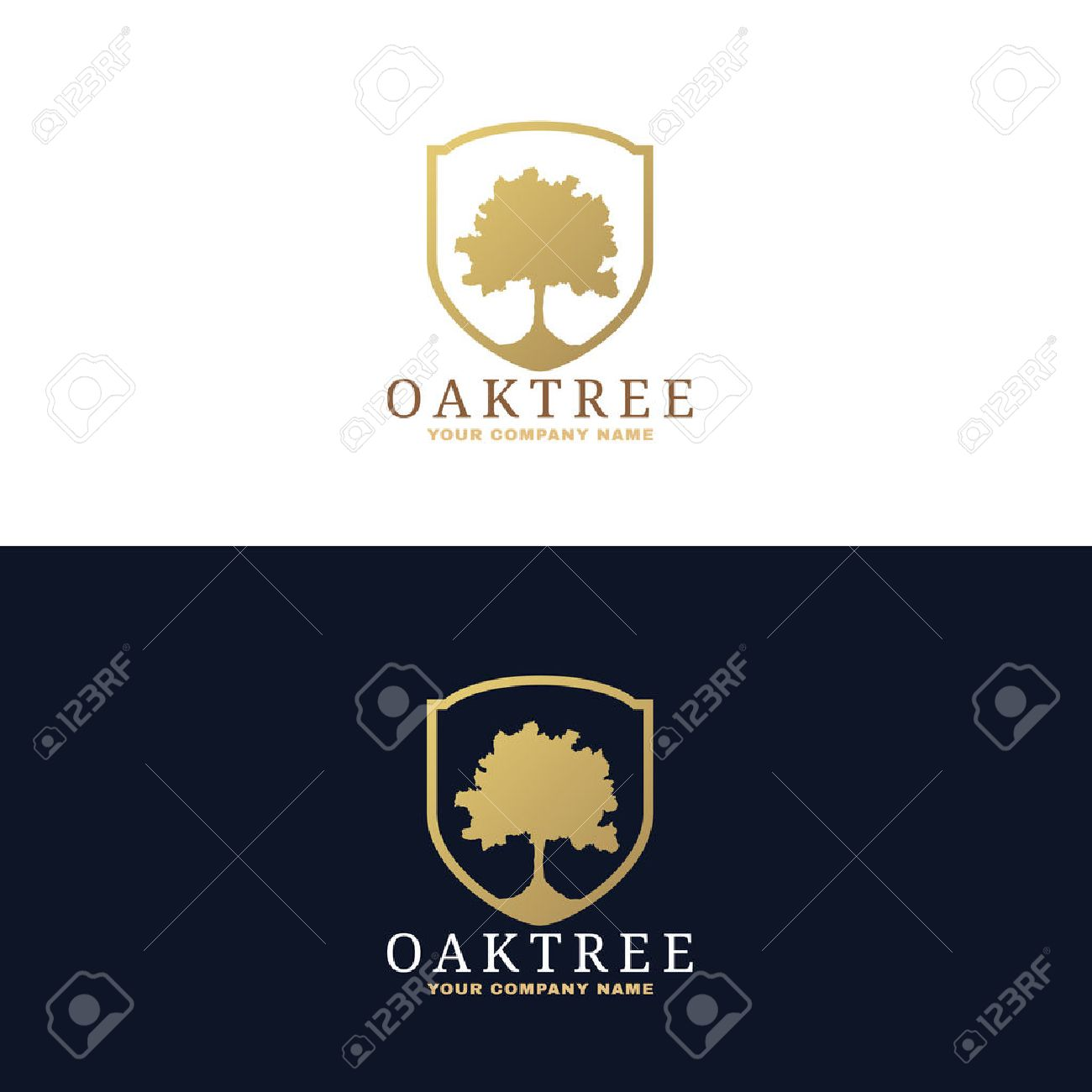 Gold And Dark Blue Oak Tree Logo Vector Design Stock