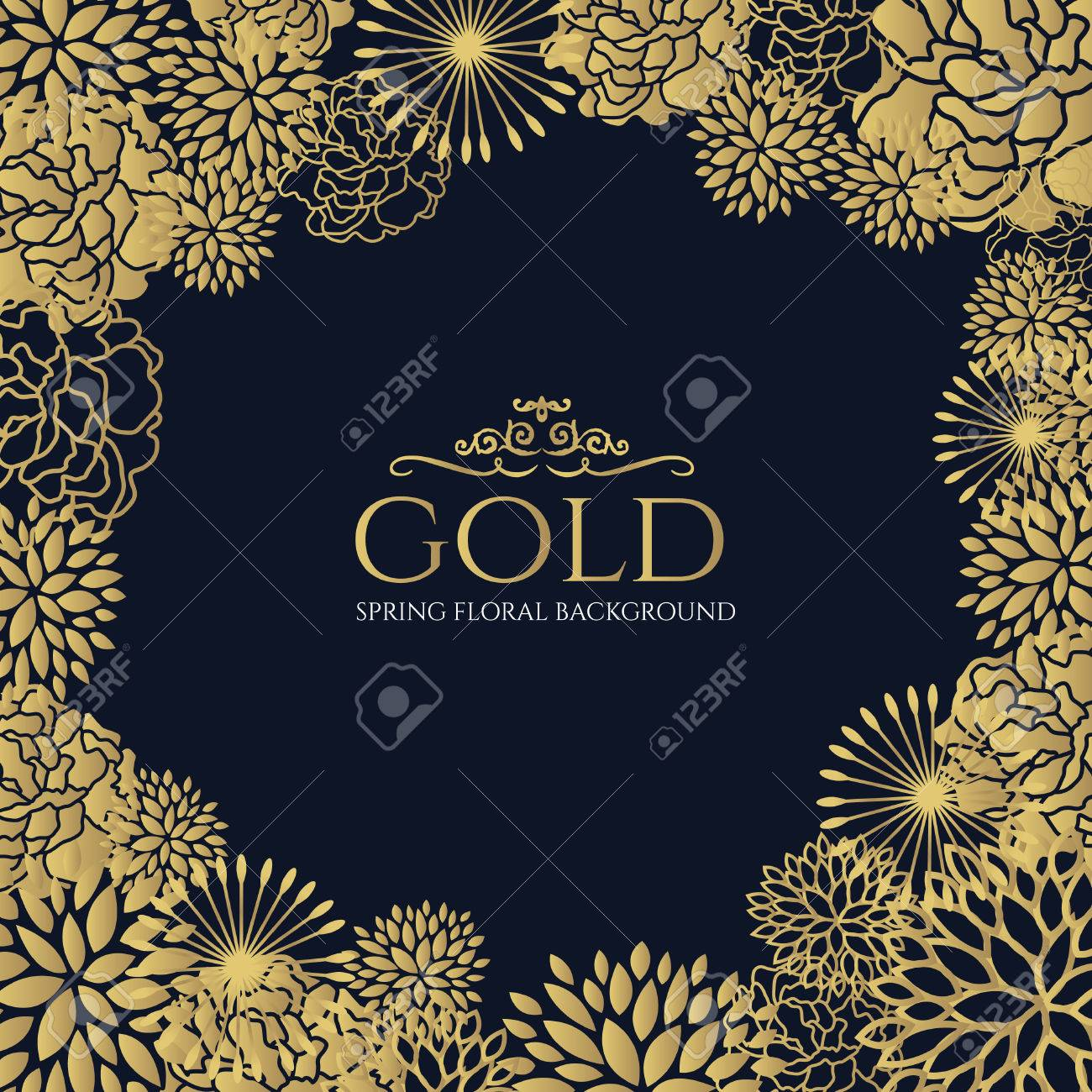 gold floral frame on dark blue background vector art design royalty