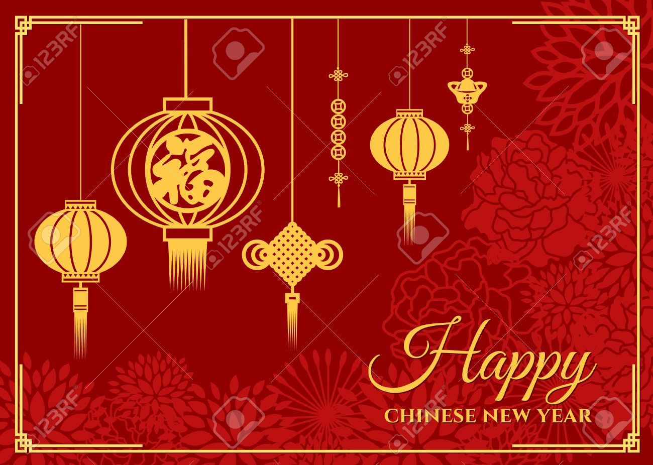 Happy chinese new year card is chinese word mean happiness happy chinese new year card is chinese word mean happiness in lanterns and china knot kristyandbryce Choice Image