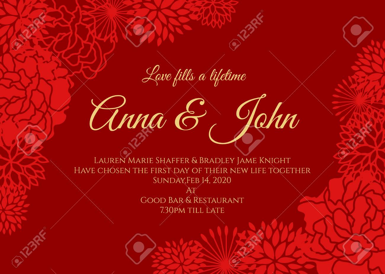 Wedding Card Red Rose And Other Floral Vector Design On Red