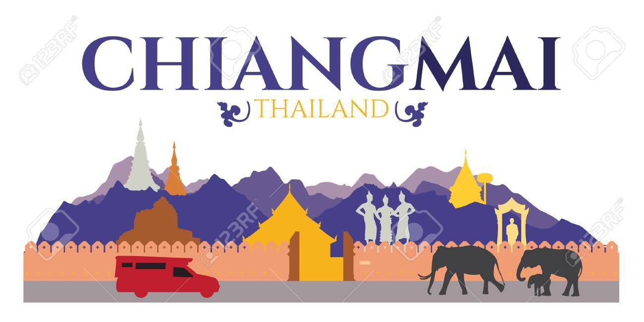 Chiangmai city of thailand - Attractions and traval location such as Doi Suthep , Tha Phae gate and temple and elephant - 54190702