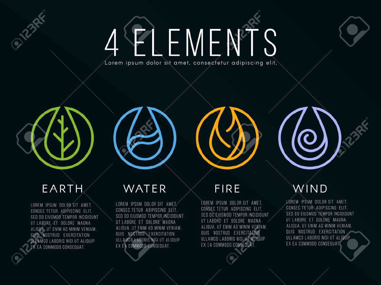 Nature 4 elements icon sign. Water, Fire, Earth, Air. on dark background. - 54421851