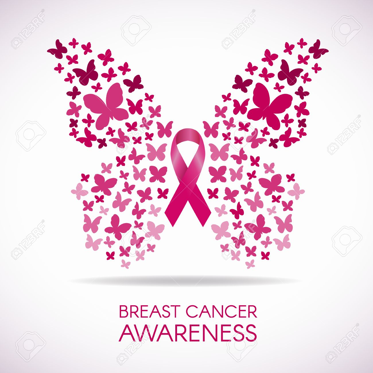 8a5525add Breast cancer awareness with Butterfly sign and pink ribbon vector  illustration Stock Vector - 54638707