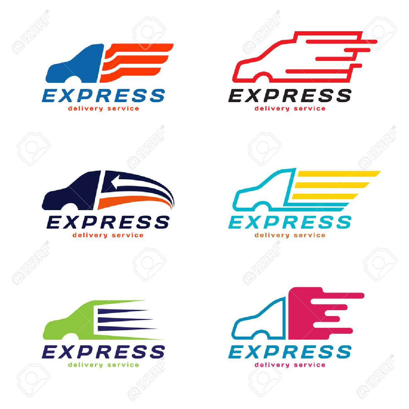 Truck car express delivery service logo vector set design stock vector 55197300