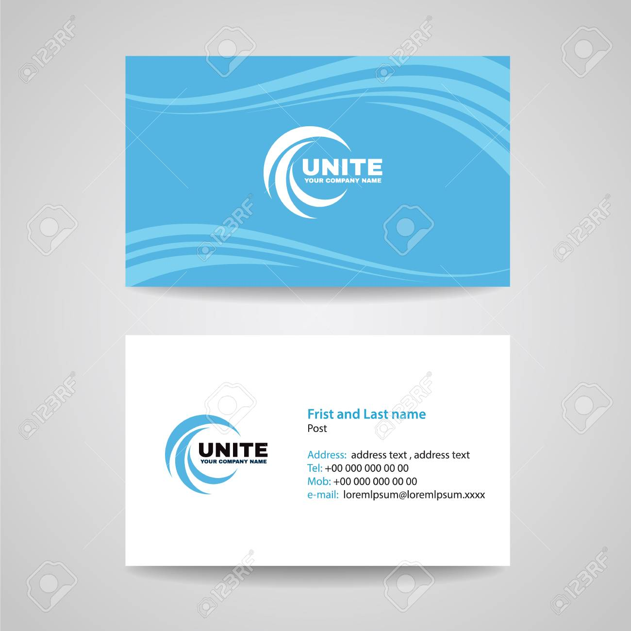 Business Card Background Template - Blue Sky Wave Style Vector ...