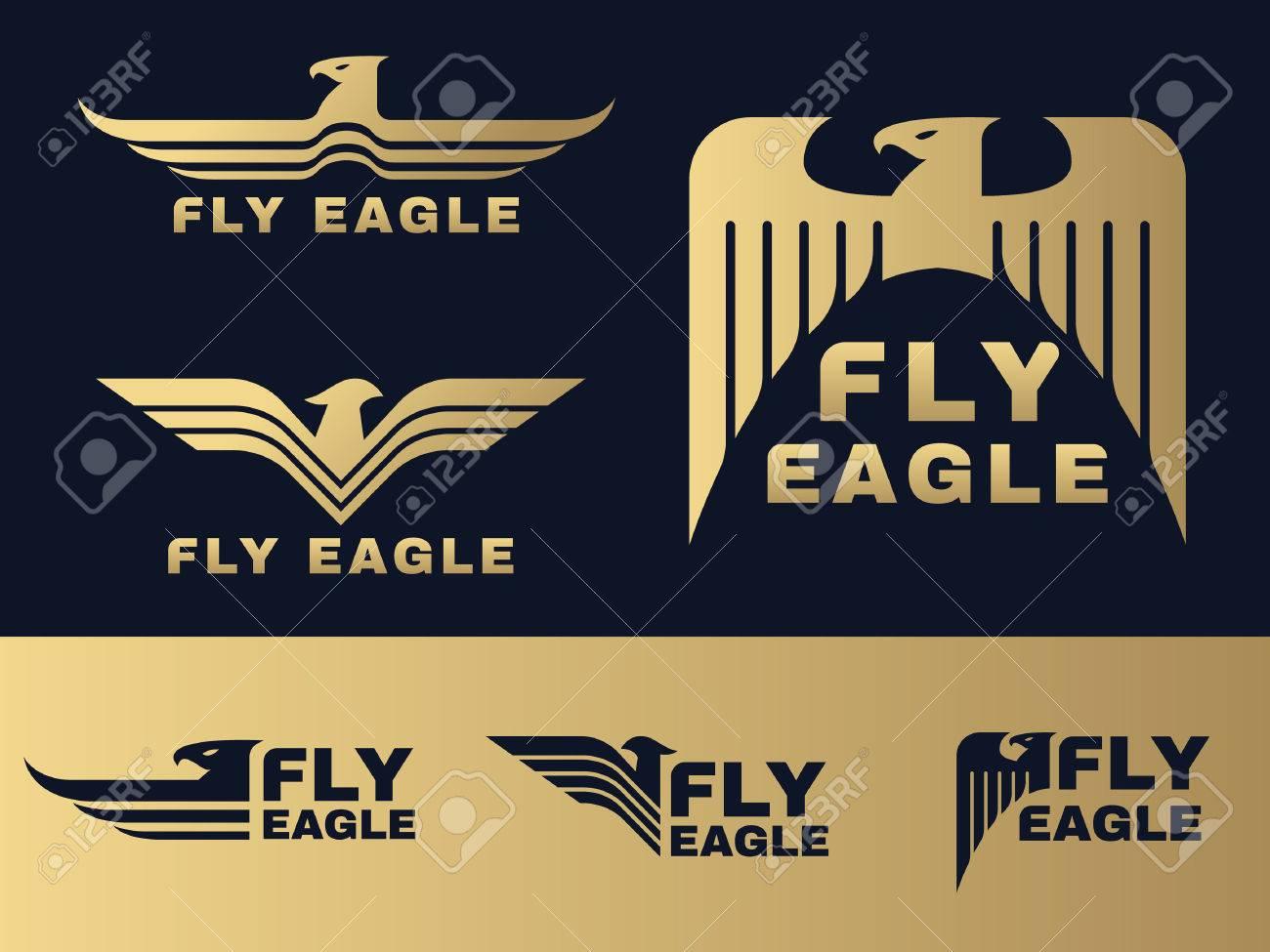 Gold and dark blue Eagle logo vector set design - 55615047