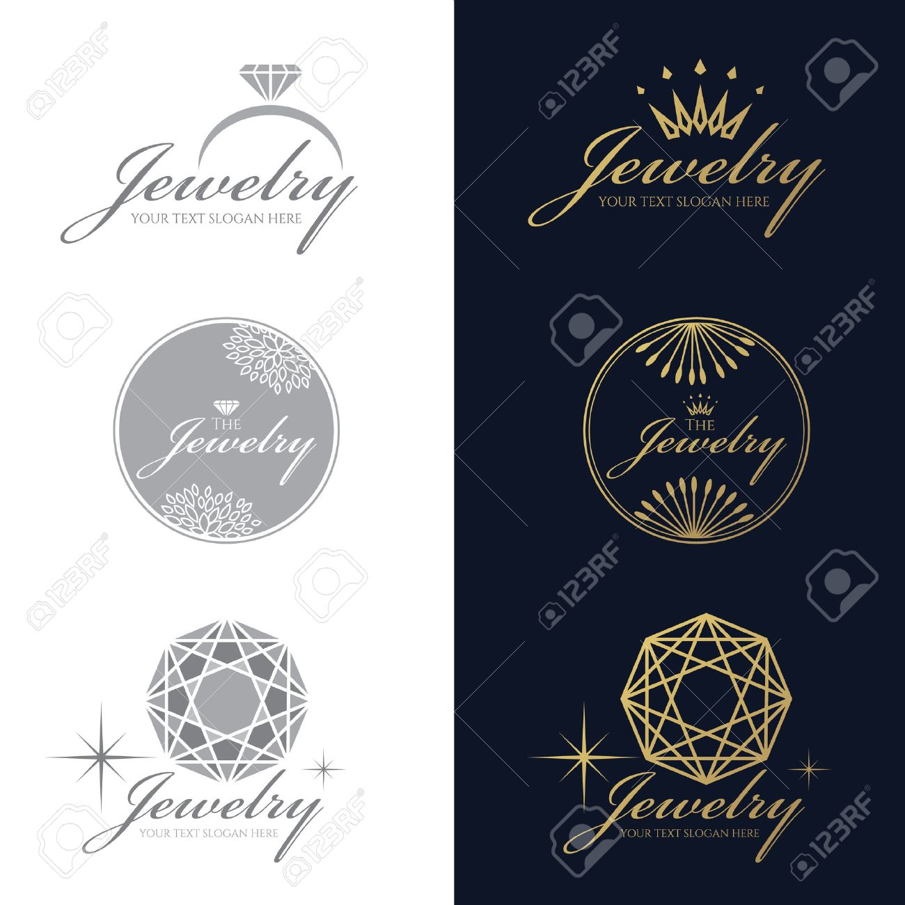 Jewelry ring logo. Jewelry crown logo. Jewelry flower and circle logo. Diamond Octagon logo. vector set and isolate on white and dark blue background - 55658520