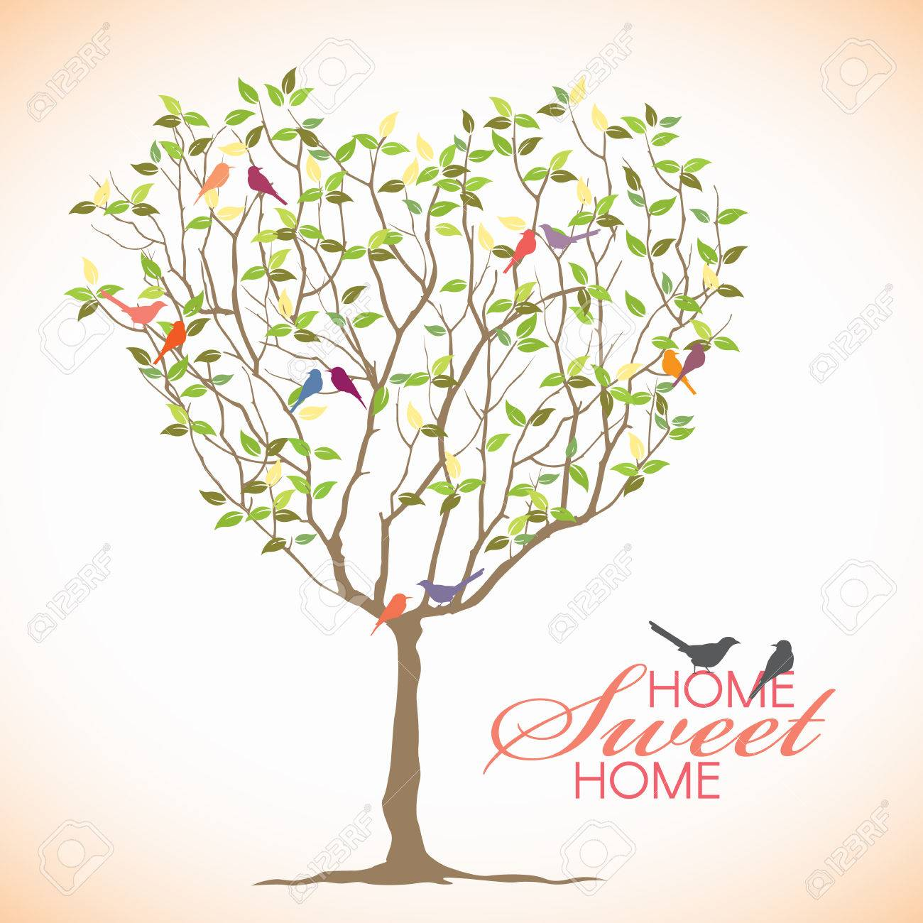 Home Sweet Home - Bird And Heart Tree Vector Design Royalty Free ...