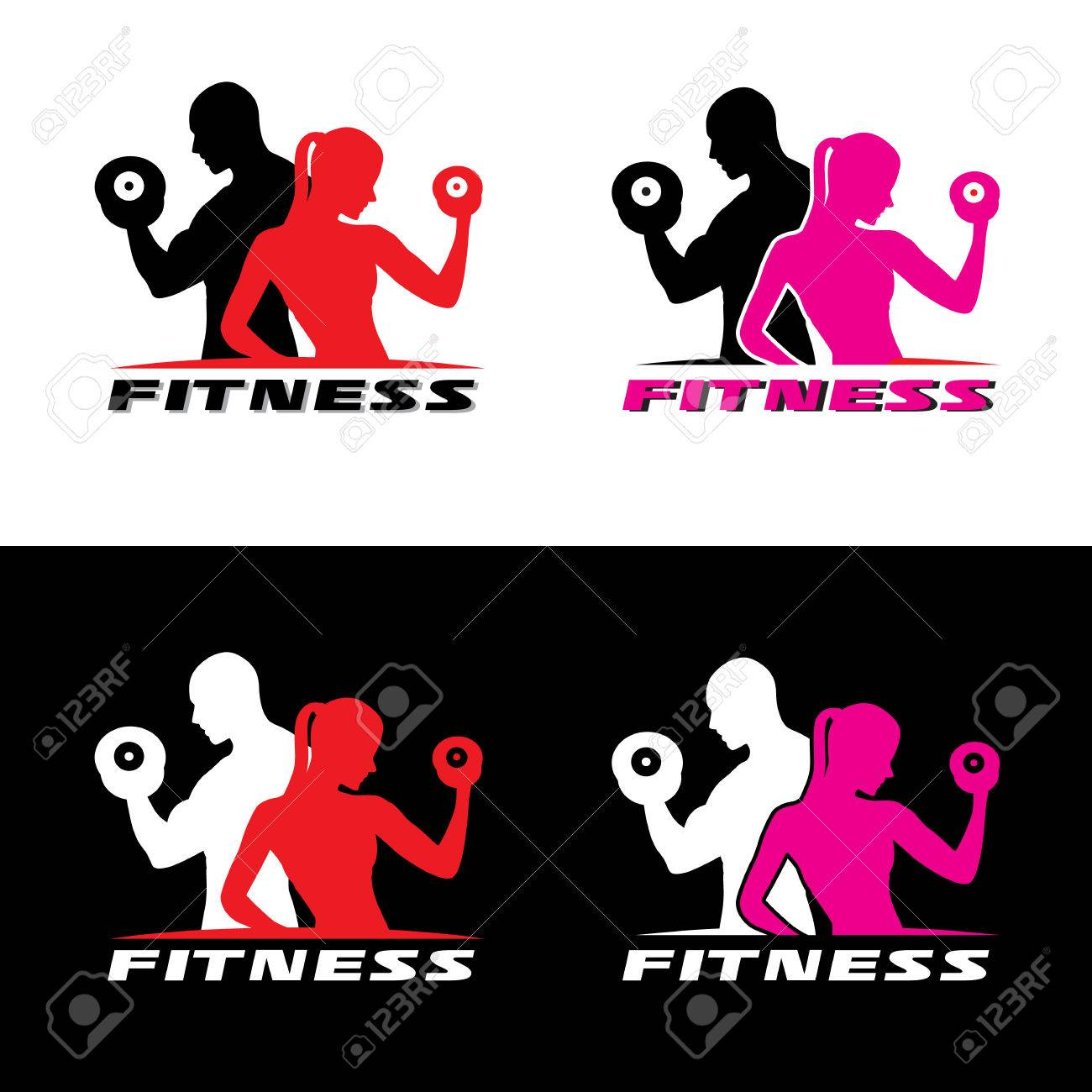 Fitness logo vector - Man and woman holding a dumbbell. - 55659065