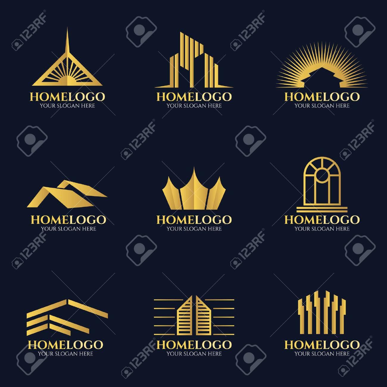 Golden home logo vector set design - 55659068