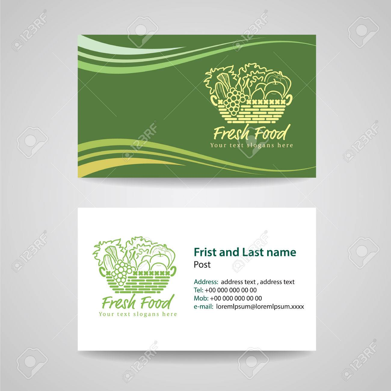 Business card green background template for fresh food and basket business card green background template for fresh food and basket vegetables logo vector design stock vector reheart Images