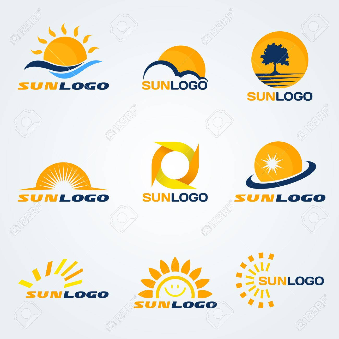 Sun logo (have Trees, clouds and water to composition) set art design - 55982945