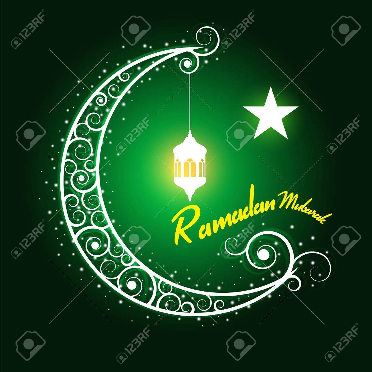 ramadan mubarak hanging lamps on moon and star on green background
