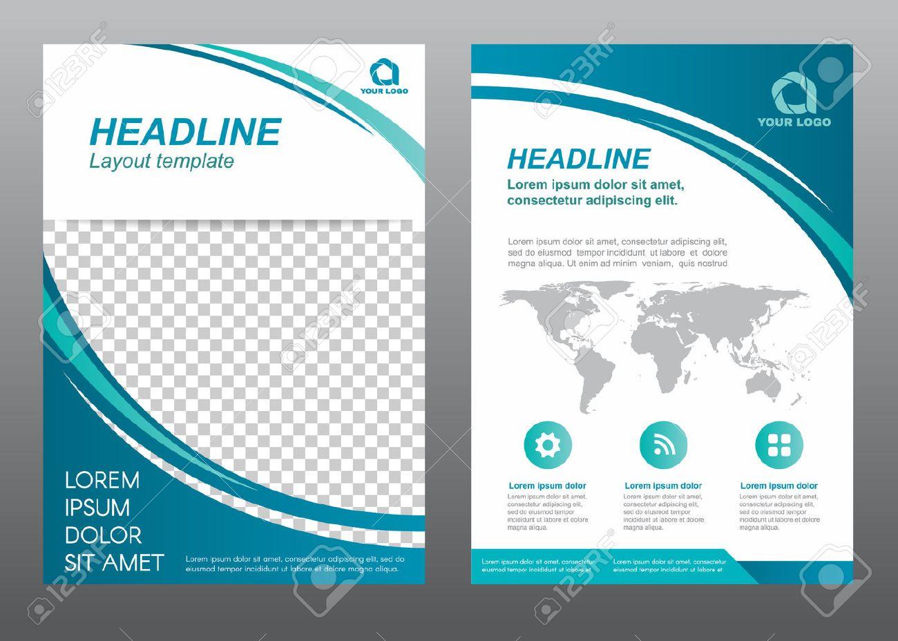 Layout Flyer Vorlage Größe A4 Deckblatt Kurve Blau Ton Vector Design