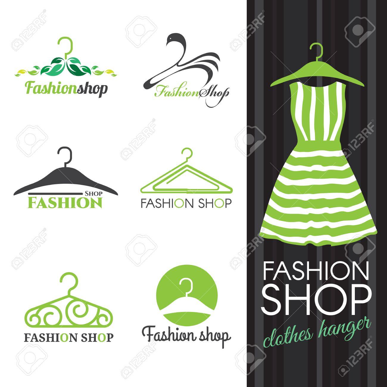 Fashion shop logo - Green Clothes hanger vector set design - 58011360
