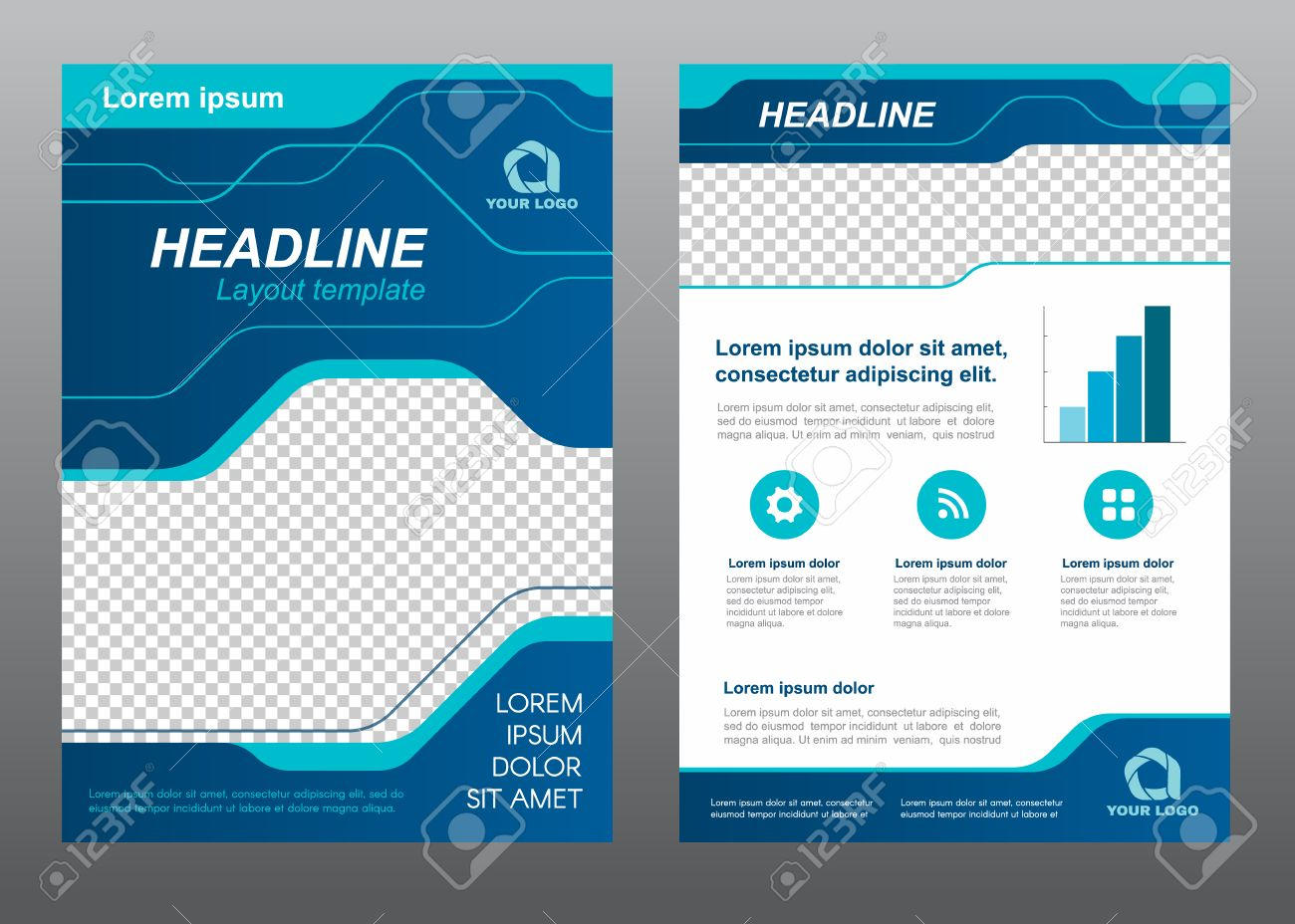 Layout Flyer Template Size A4 Cover Page Blue Line Art Vector – Blue Flyer Template