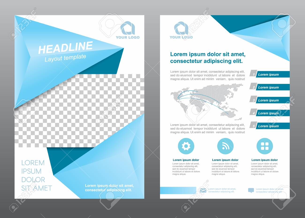 layout flyer template size a4 cover page soft blue tone vector design stock vector 58011356