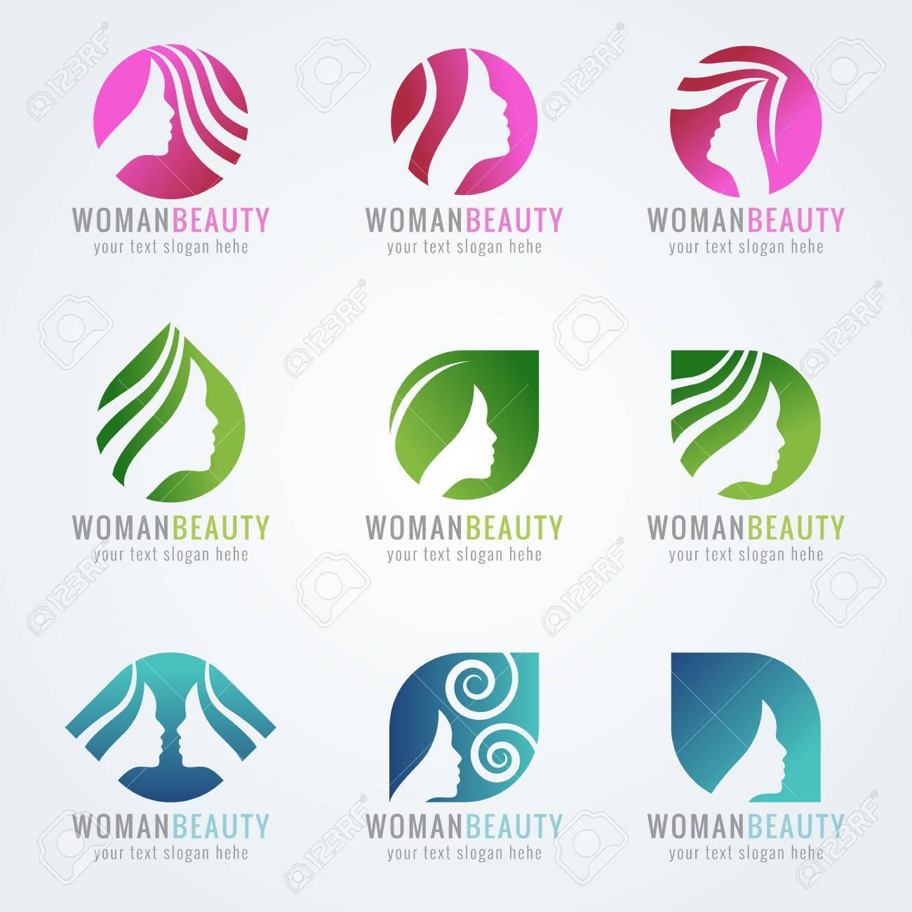 Woman beauty face and hair logo vector set design - 58013100