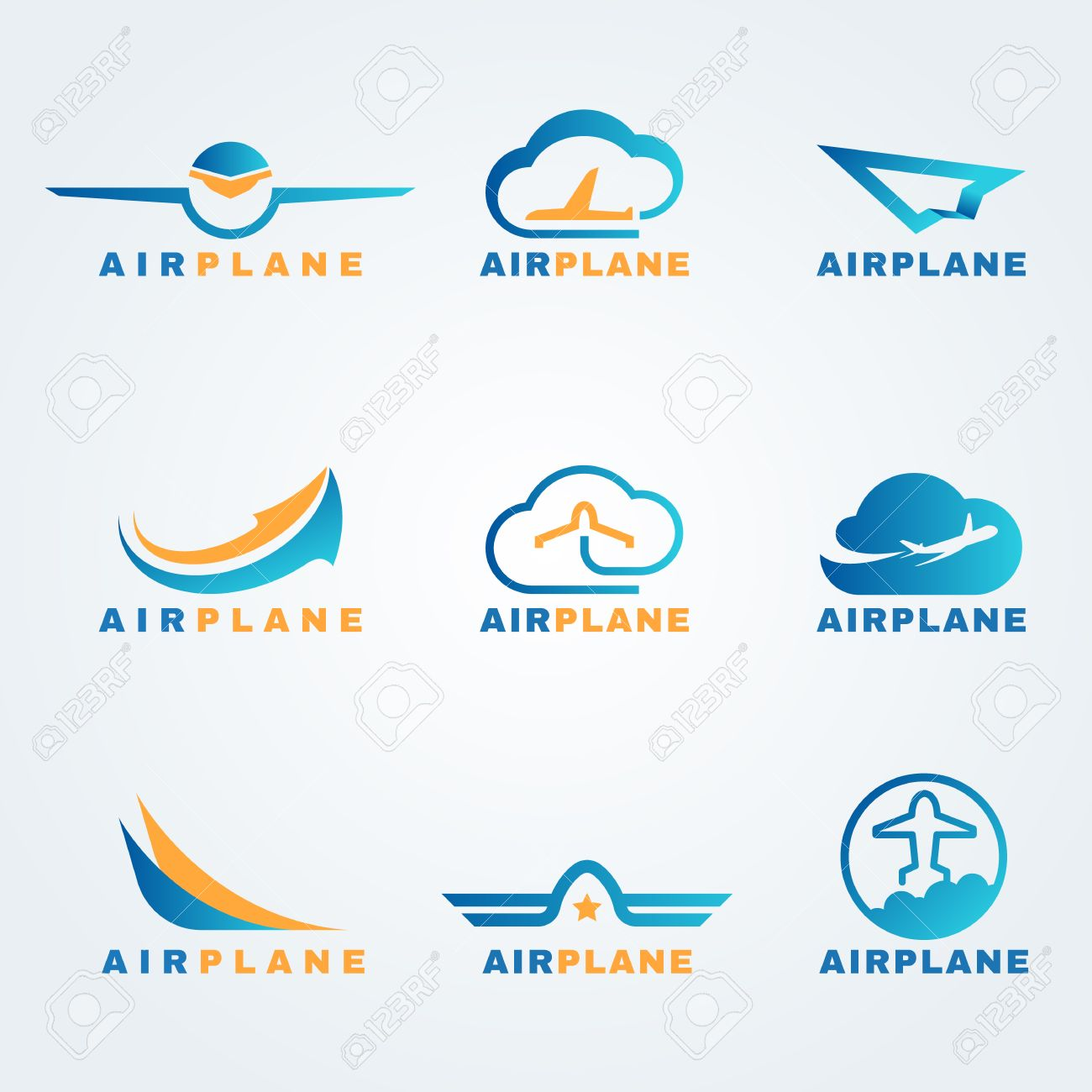 Rocket and air plane logo vector set design - 58013534