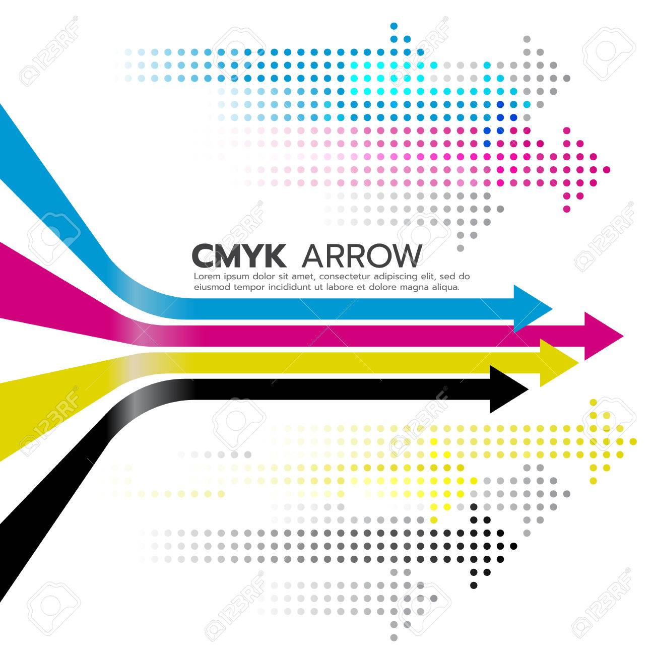 CMYK (cyan and magenta and yellow and key or black) arrow line and dot arrow art design - 59591498
