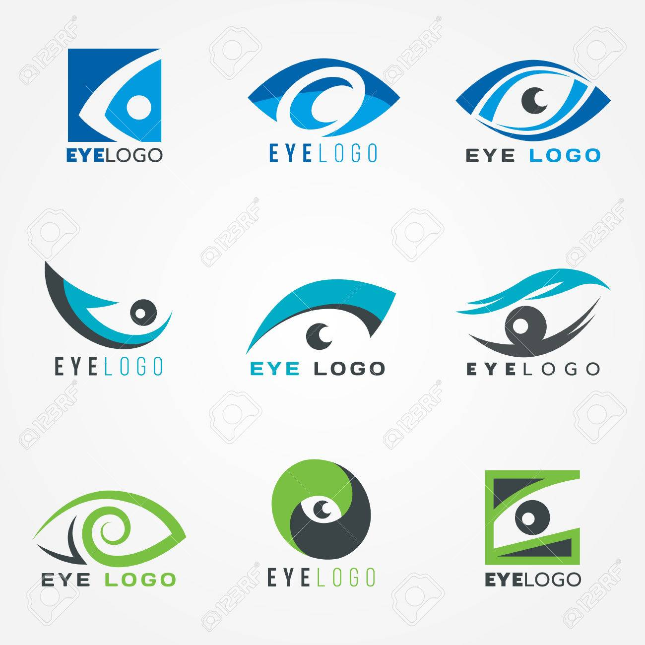 eye logo sign vector set graphic design royalty free cliparts