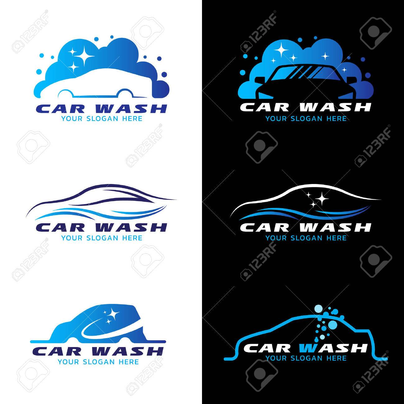 Car Wash Service Logo Vector Set Design Royalty Free Cliparts