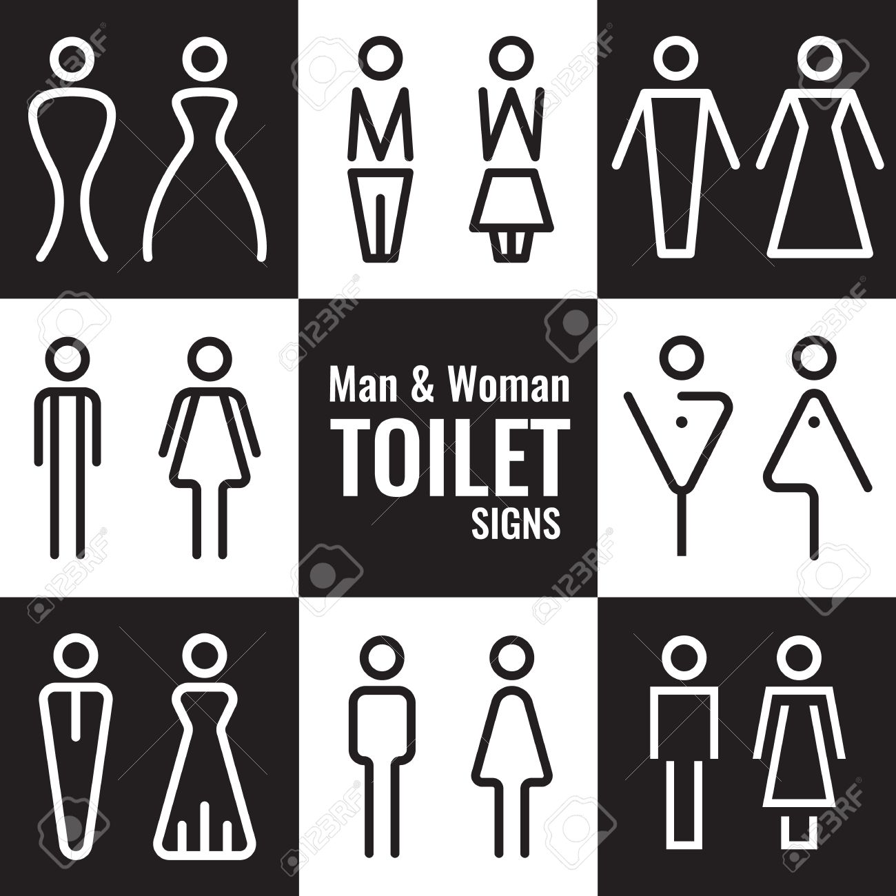 Man and Woman Toilet line sign vector set design - 61615747