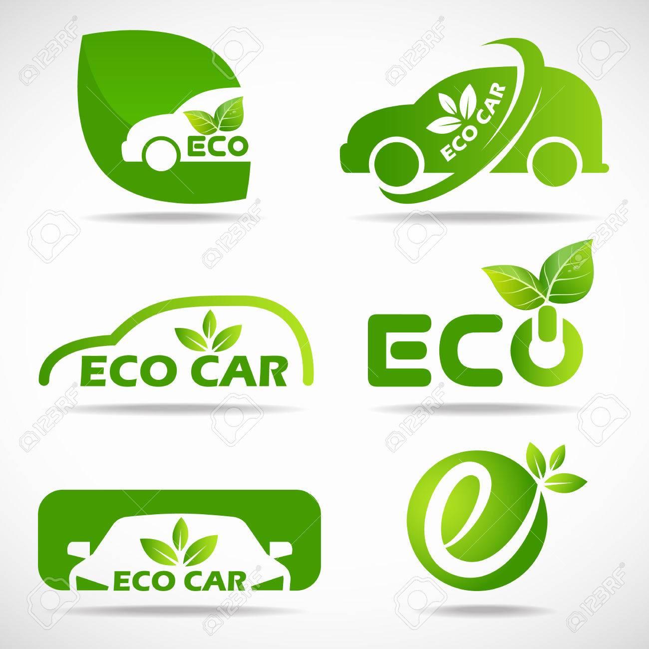Eco car icon - green leaf and car sign set design - 63507289
