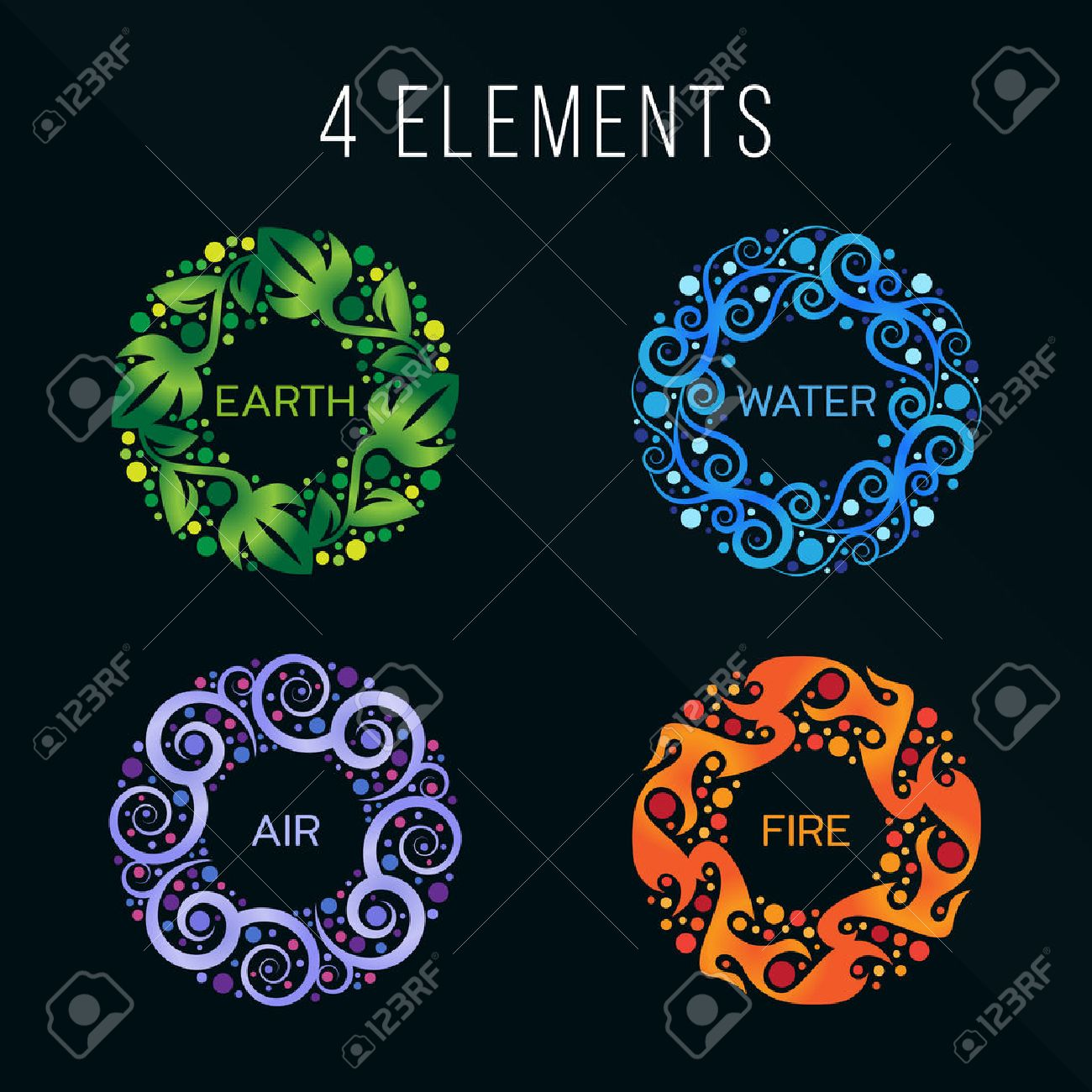 Nature 4 elements circle abstract sign. Water, Fire, Earth, Air. on dark background. - 63507294