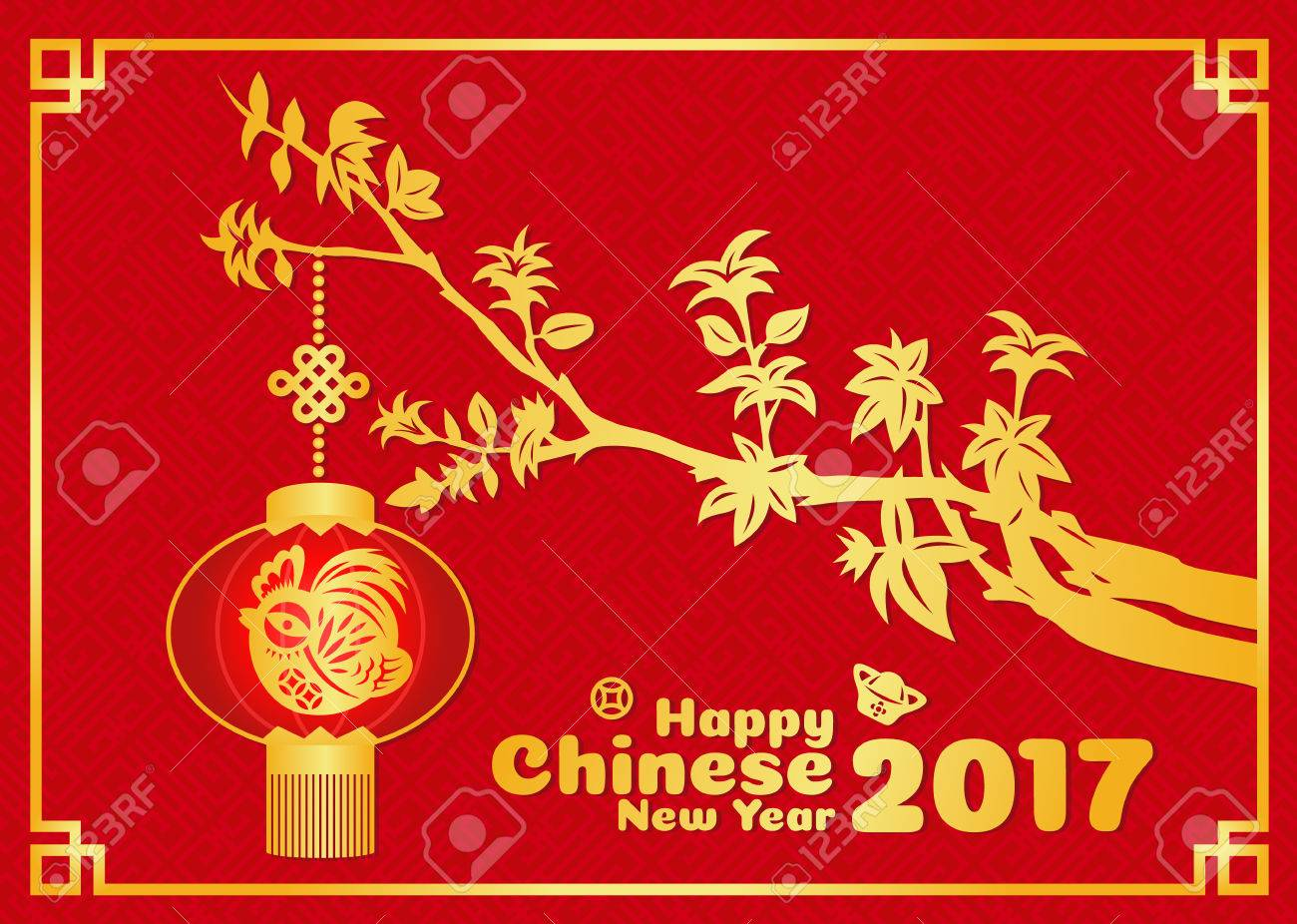 Happy Chinese New Year 2017 Card Is Gold Chicken Paper Cut In