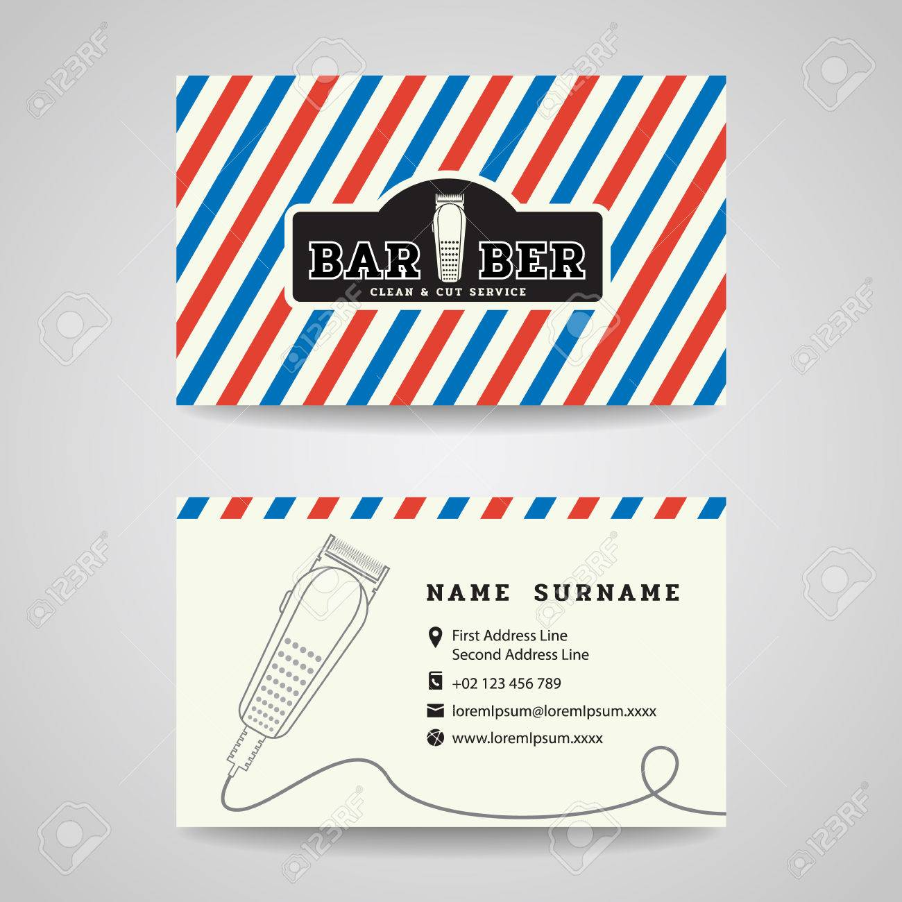 Business Card - Barber Shop And Hair Clippers Logo Vector Design ...