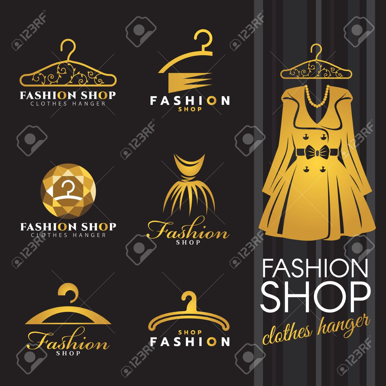 Fashion Shop Logo Gold Winter Dress And Clothes Hanger Logo Royalty Free Cliparts Vectors And Stock Illustration Image 66920727