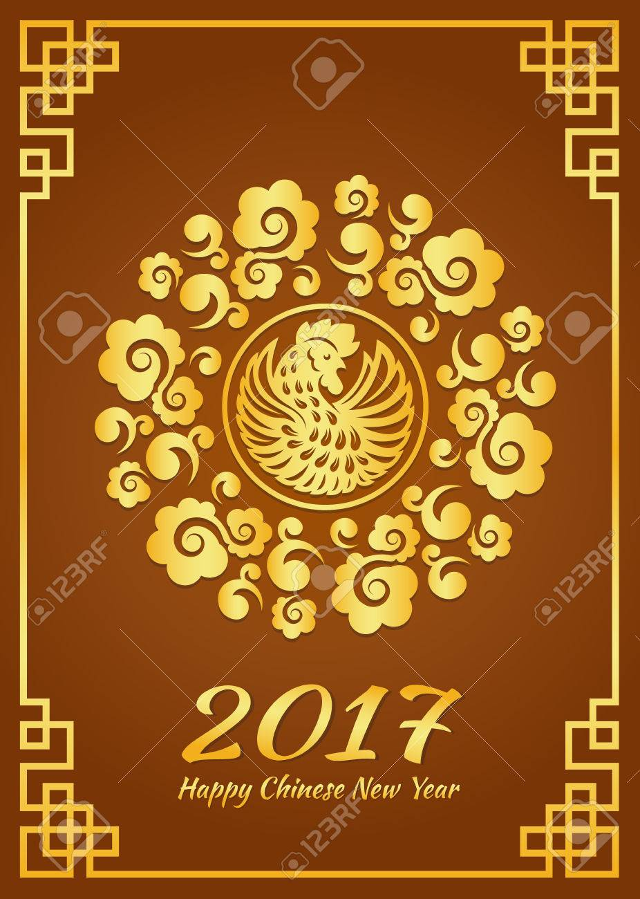 happy chinese new year card is gold cloud circle frame and chicken rooster vector design stock