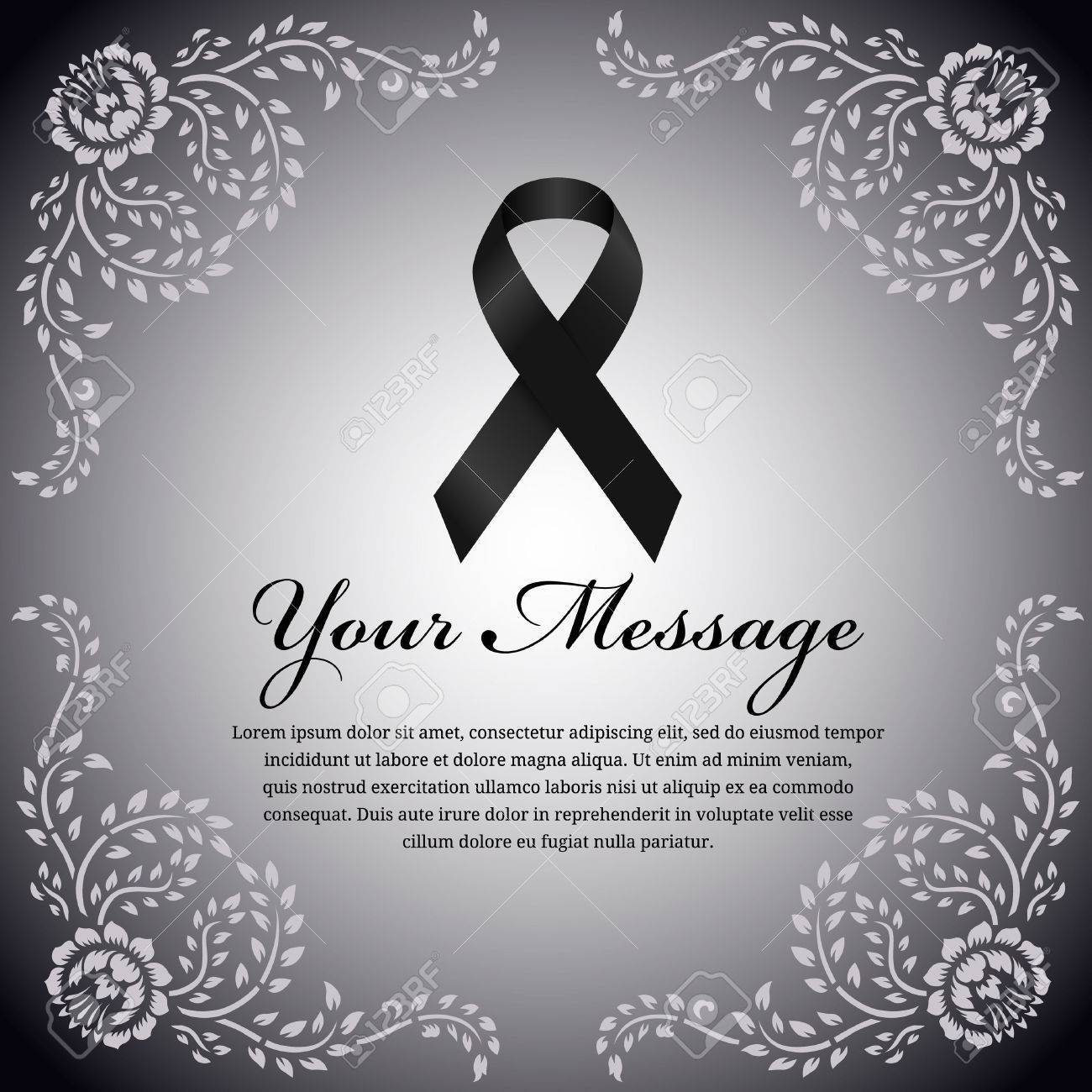 Funeral card black ribbon and place for text on flower leaf funeral card black ribbon and place for text on flower leaf frame vector design stock kristyandbryce Images