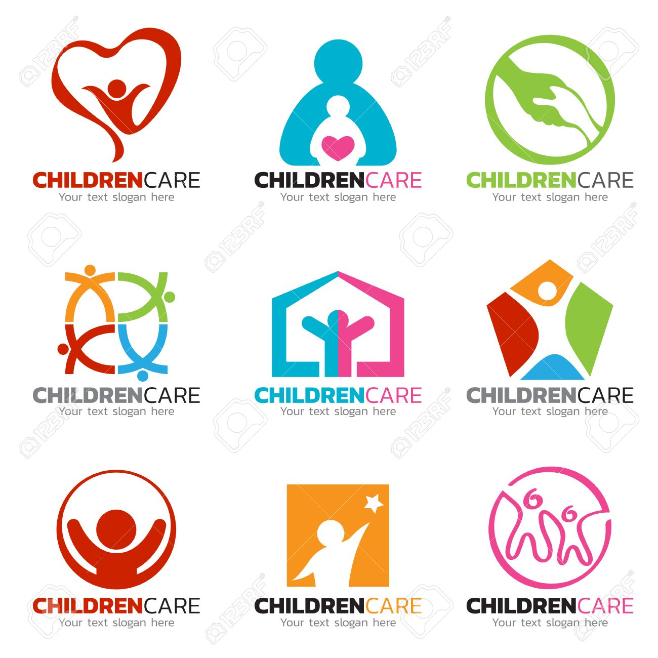 Beau Children And Care Logo Vector Set Design Stock Vector   66922457