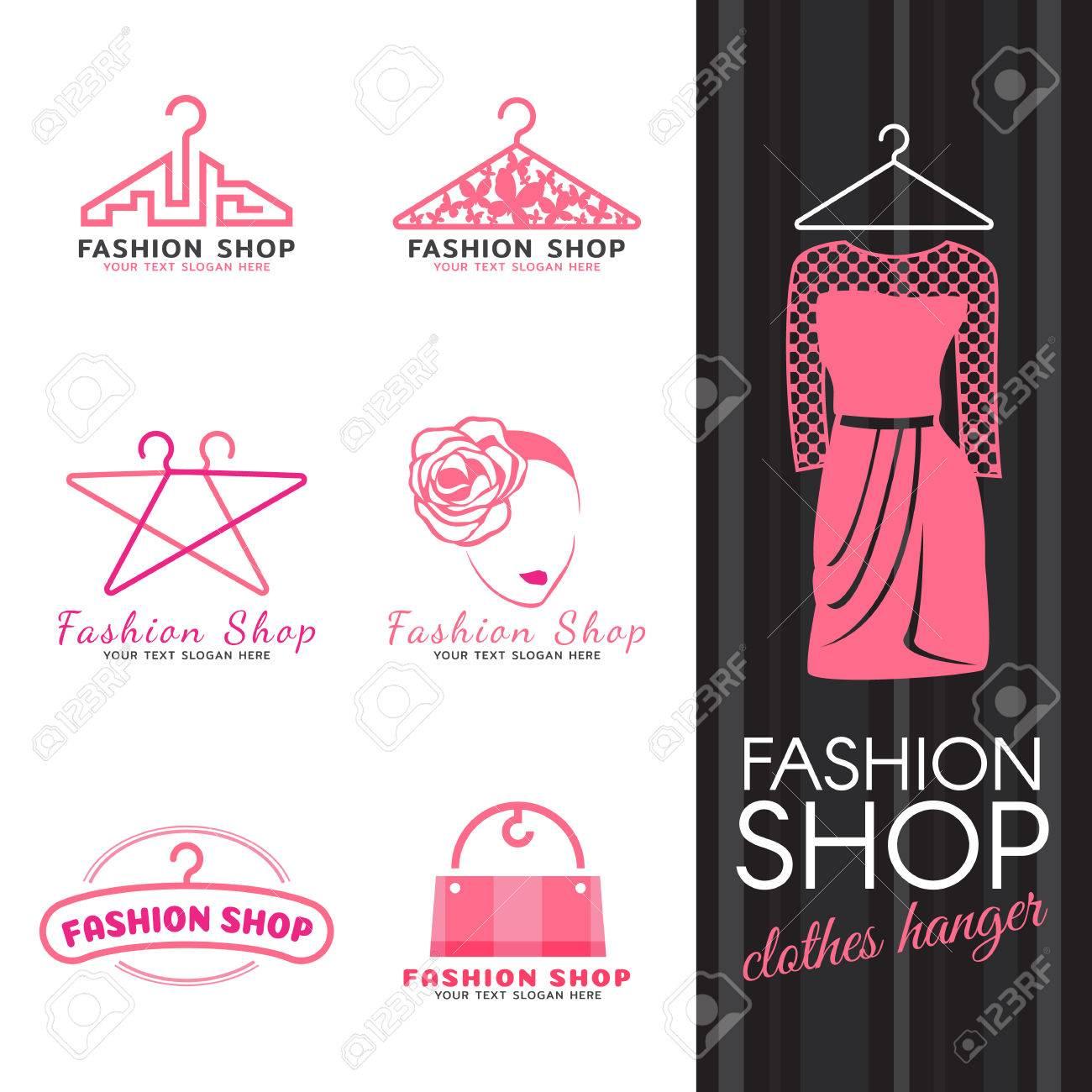 Tienda De Moda Logotipo - Ropa De Color Rosa Logotipo De La Percha Y ...