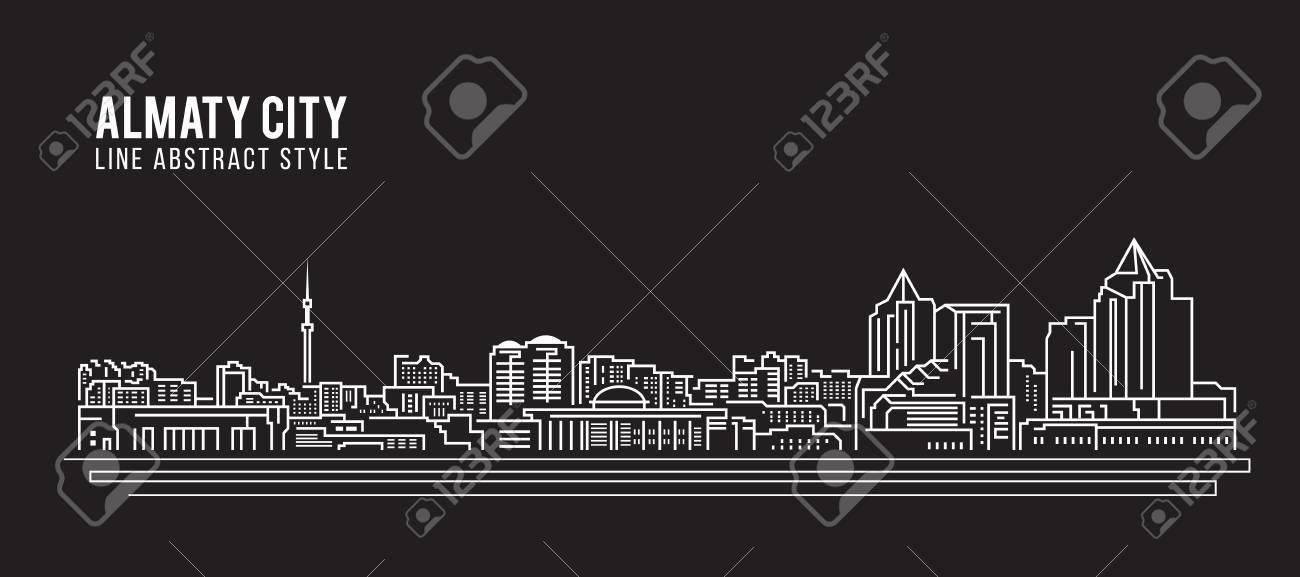 Cityscape Building Line art Vector Illustration design - Almaty city - 69365780
