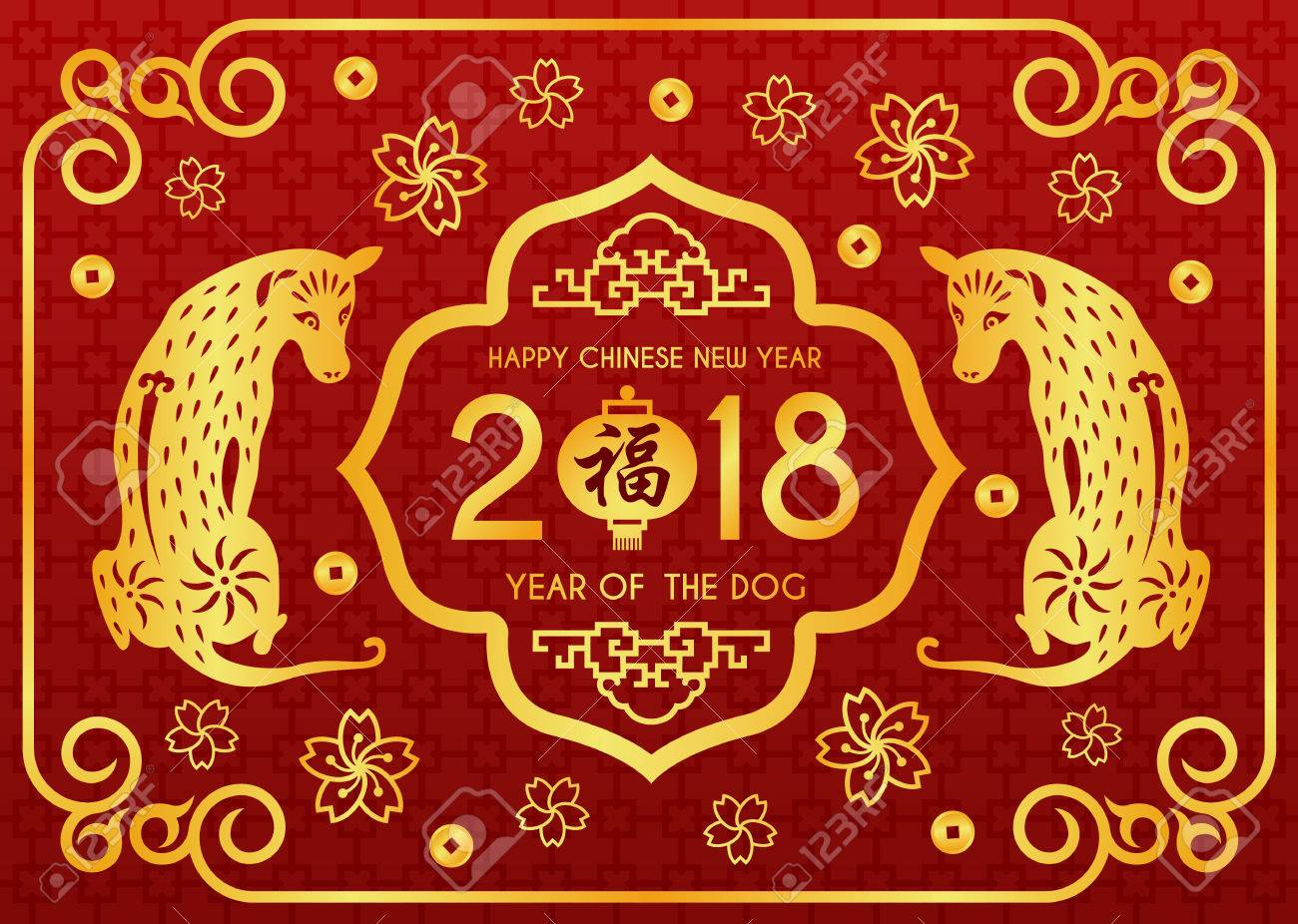 Happy chinese new year 2018 card with chinese word mean blessing happy chinese new year 2018 card with chinese word mean blessing in lanterns and twin gold kristyandbryce Choice Image