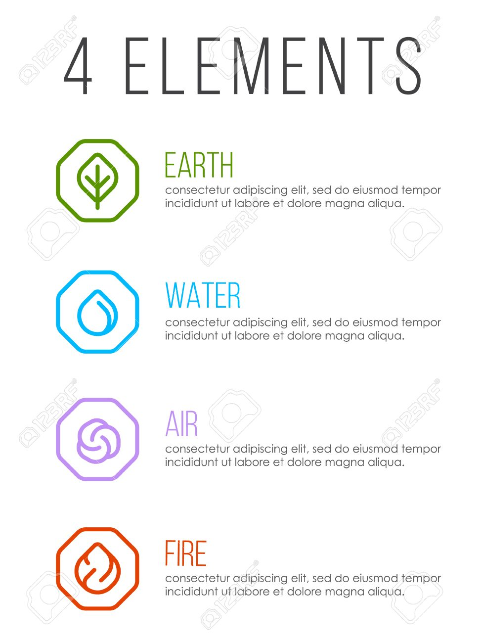 Nature 4 elements in line border abstract icon sign. Water, Fire, Earth, Air. vector design - 74235290