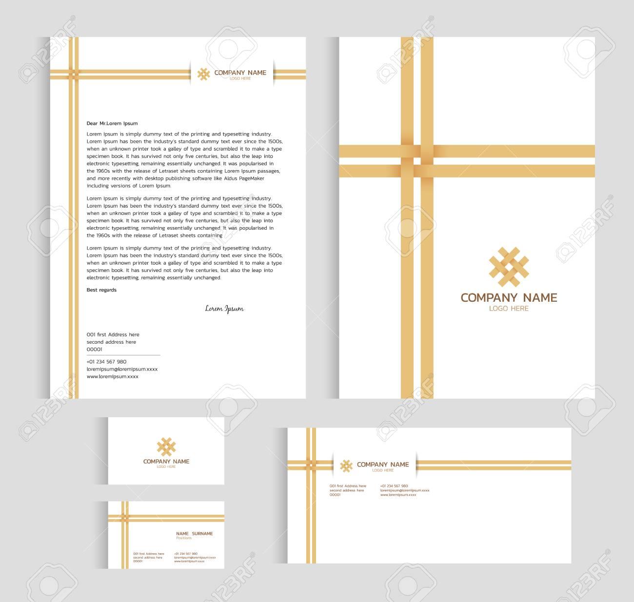 Layout Vorlage Größe A4 Abdeckung Seite Visitenkarte Und Brief