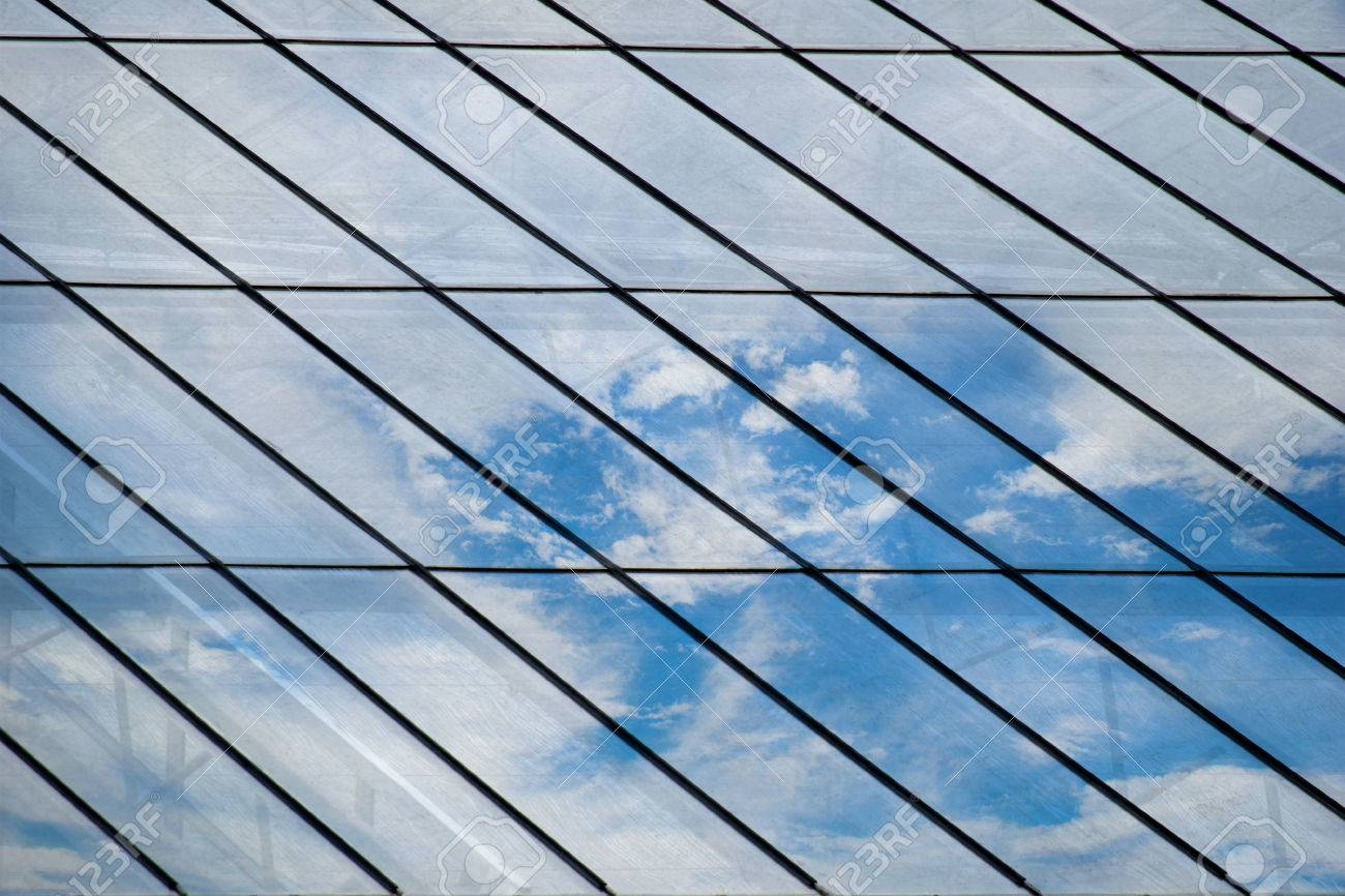 Glass Roof Mirror Reflection On Sky And Cloud Stock Photo Picture