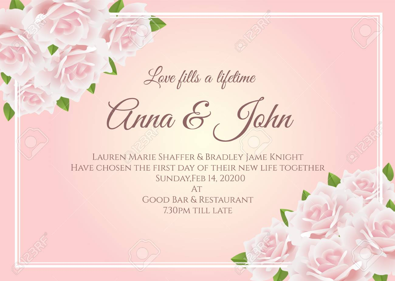 Wedding Card Soft Pink Rose Floral Frame On Yellow Pink Background