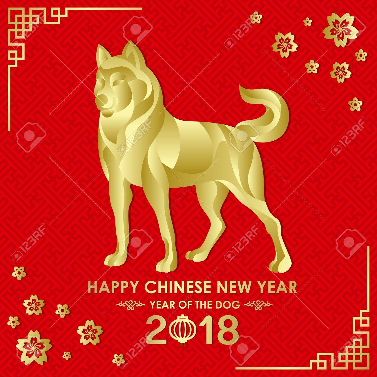 happy chinese new year 2018 card with gold dog zodiac abstract on red china parttern background