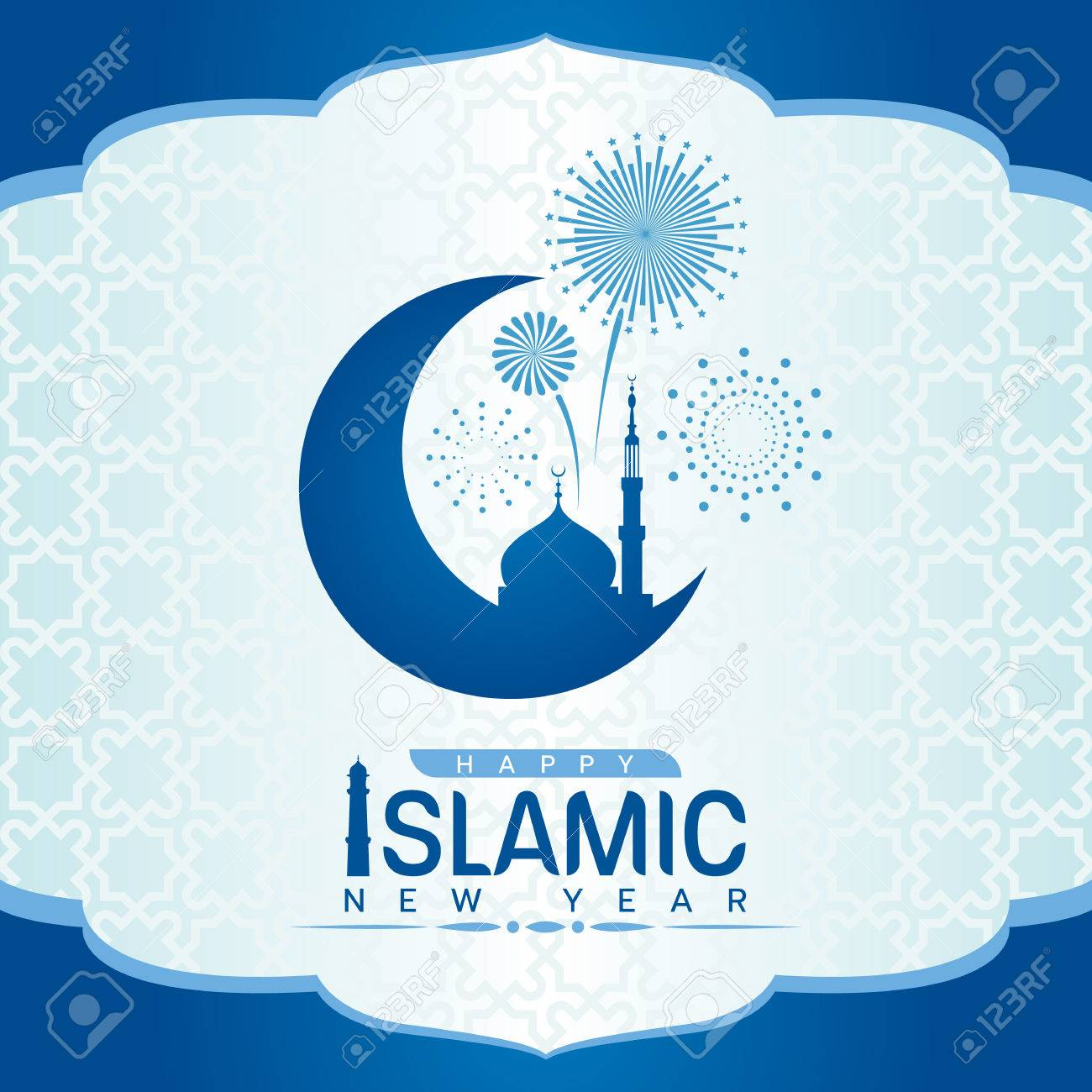 Happy Islamic new year with mosque on Crescent moon and firework
