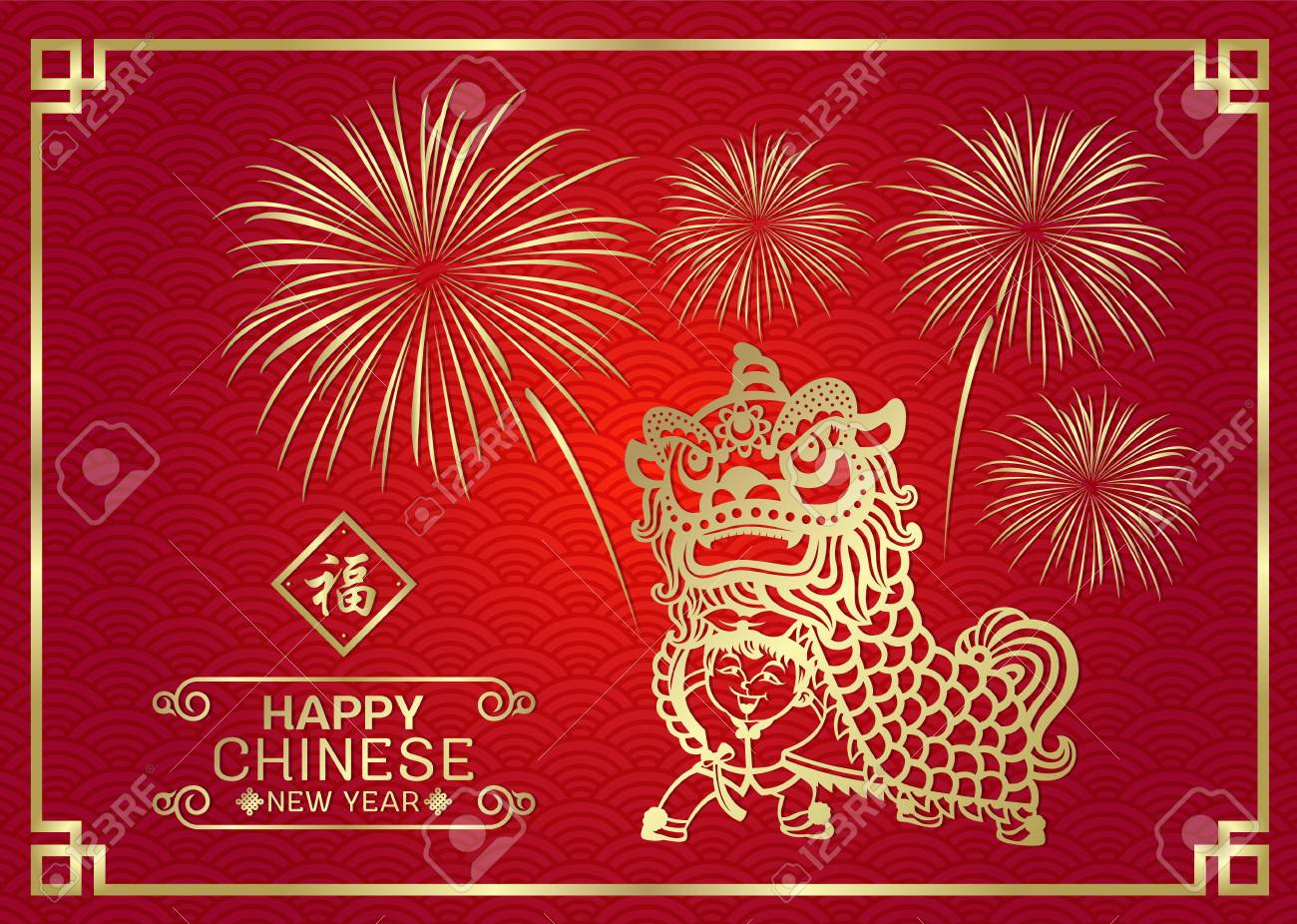 happy chinese new year card with gold china lion dance by chinese kids boy and firework