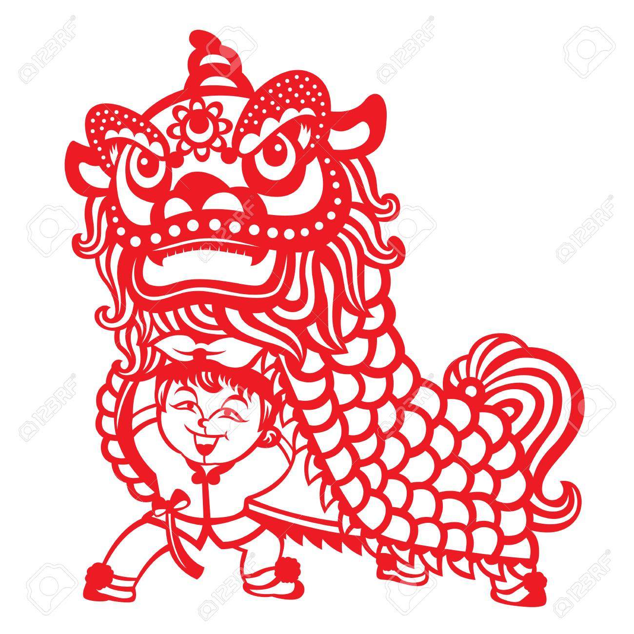 Red paper cut china lion dance by chinese kids boy vector art design - 85507835