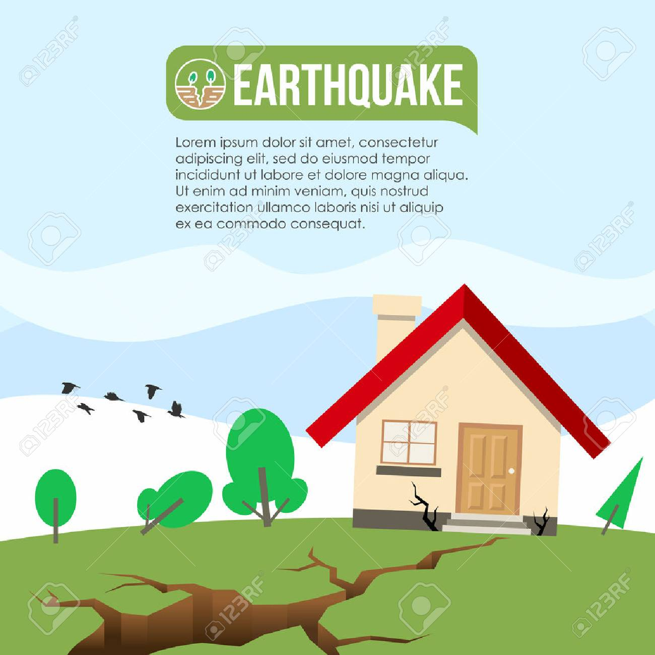 Earthquake Disaster with Ground crevice and House crack vector design - 86261296